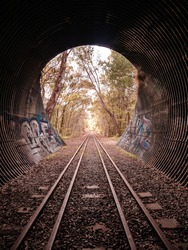 Train tunnel with graffiti  and autumn colours