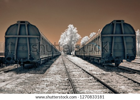 train wagons at station holocaust memorial jew infrared photo with white trees