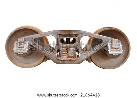 train wheel isolated on white - stock photo