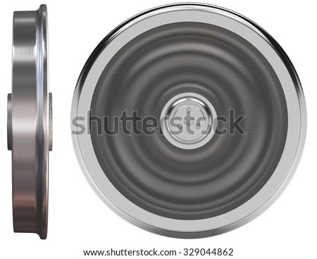 Train wheels isolated on white