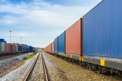 train with container in shipyard for Logistic Import Export background