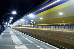 Train with speed at station Arnhem south, the netherlands