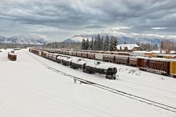 Train yard on a frigid winter morning, Whitefish, Montana