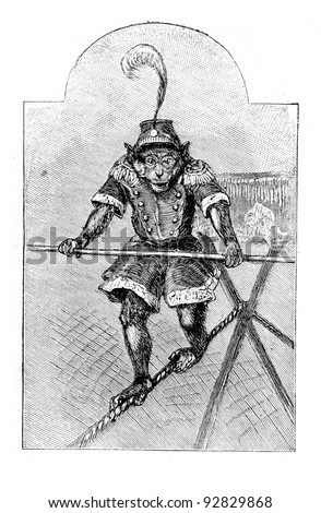 "Trained monkey. Engraving by Specht. Published in magazine ""Niva"", publishing house A.F. Marx, St. Petersburg, Russia, 1893"