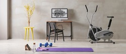 Training and sportive room, grey interior style, stone wall, bike and purple mat, blue dumbbell.