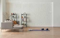 Training at home concept, grey sofa and mat style.