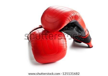 training boxing gloves on white background