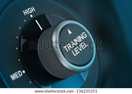 Training button pointing on high level, 3d render image with blue tones and blur effect