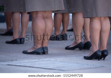 Training female police orderly rows