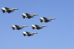 training flight of fighter jets on display