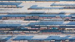 Trains aerial view