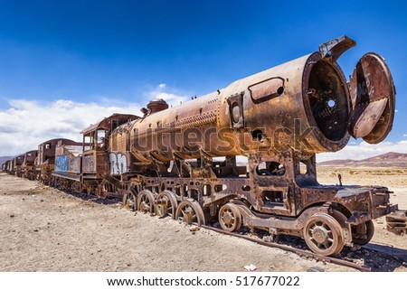 Trains Cemetery near Uyuni in Bolivia