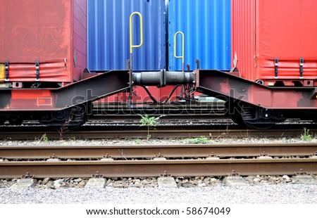 Trains loaded with container on a railway