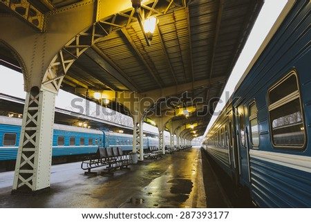 Trains on a departure platform #287393177