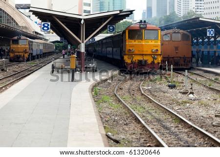 Trains park in train station platform