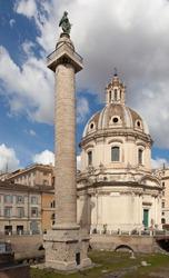 Trajan Column (Colonna Traiana). Roman triumphal column in Rome, Italy.
