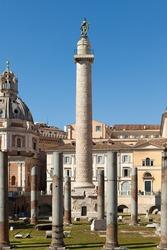 Trajan Column (Colonna Traiana). Roman triumphal column in Rome, Italy. View from Trajan forum.