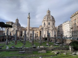 Trajan's Column, is a Roman triumphal column in Rome, Italy, the freestanding column is most famous for its spiral bas relief, which artistically represents the wars between the Romans and Dacians.