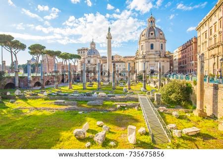 Trajan's Forum landmark of Rome, Italy.