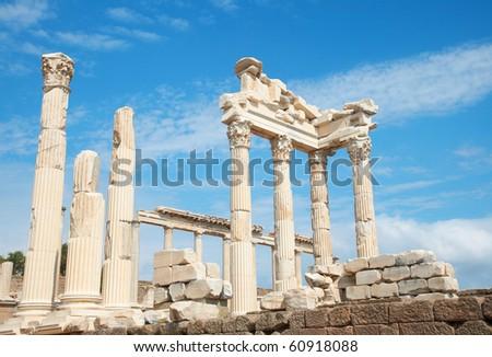 Trajan Temple columns in ancient city of Pergamon, Turkey