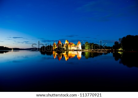 Trakai Castle at night - Island castle in Trakai isd one of the most popular touristic destinations in Lithuania, houses a museum and a cultural center.