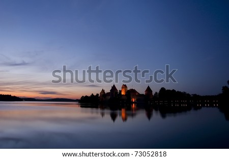 Trakai Castle at night - Island castle in Trakai isd one of the most popular touristic destinations in Lithuania, houses a museum and a cultural center