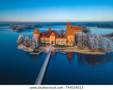 Trakai castle at winter, aerial view of the castle