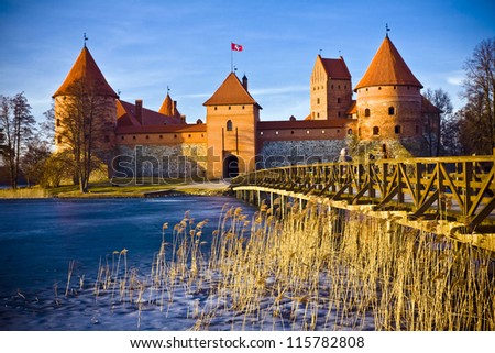 Trakai castle in Lithuania in spring time
