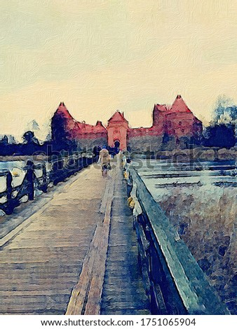 Trakai Island Castle Postcard, Lithuania. Digital Oil painting of castle at winter.