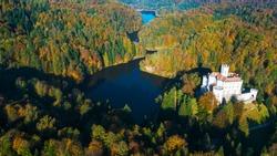 Trakoscan castle in autumn, rural Croatia