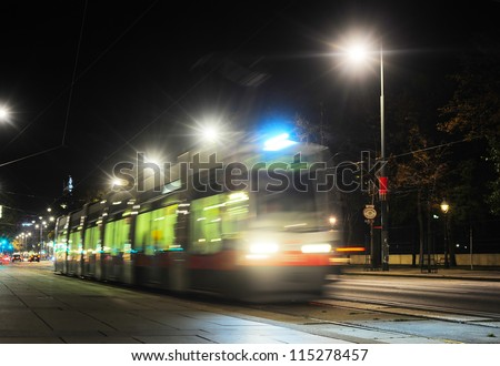 Tram at night on the street of Vienna, Austria. Long exposure