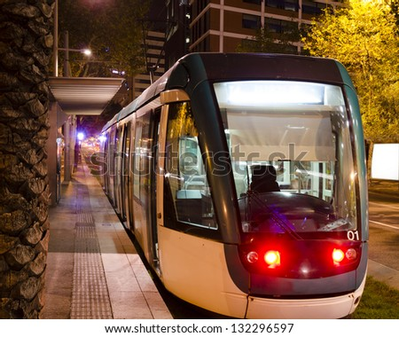 Tram in Barcelona during the night