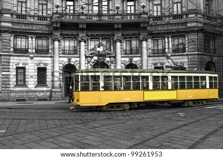 tram in the city of milan