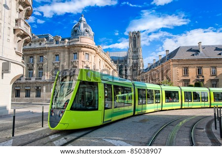 Tram on the streets of Reims, France