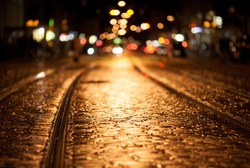 tram rails at night in freiburg