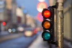 Tram traffic light showing red.