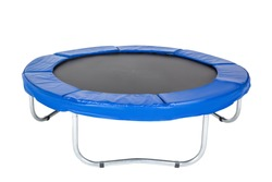 Trampoline for children and adults for fun indoor or outdoor fitness jumping on white background. Blue trampoline Isolated