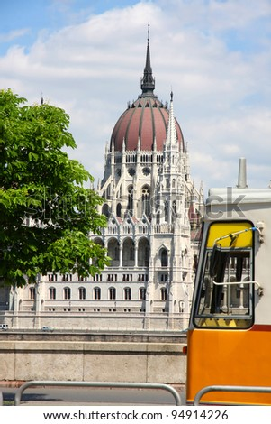 Tramway and parliament building in Budapest, Hungary