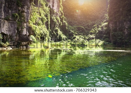 Trang An Scenic landscape complex - a scenic area near Ninh Binh, Vietnam, was inscribed as a UNESCO World Heritage Site on 2014 #706329343