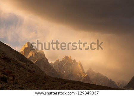Trango Towers at Sunset, Karakorum, Pakistan