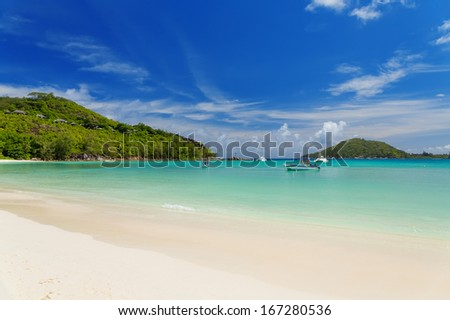 Tranquil and beautiful Polone beach at Mahe island, Seychelles  Stock photo ©