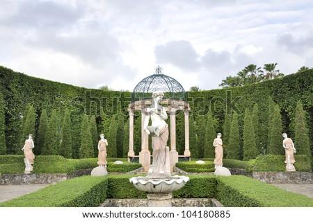 Tranquil Formal Garden - stock photo