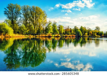 Tranquil landscape at a lake, with the vibrant sky, white clouds and the trees reflected symmetrically in the clean blue water #285605348