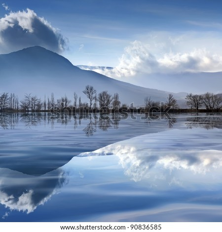Tranquil mountain landscape with a lake