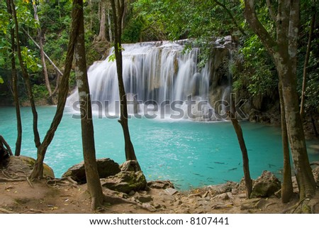 Tranquil place by the waterfall in Kanchanaburi province, Thailand.