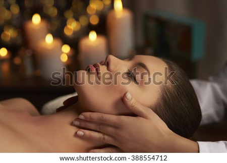 Tranquil scene of woman at Spa