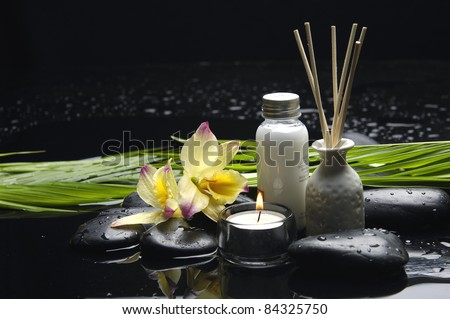 tranquil spa scene - Reed Diffuser and candle with orchid and pebbles