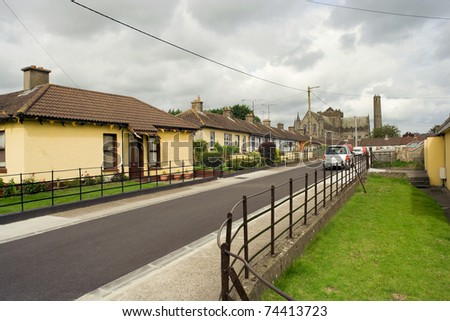 Tranquil street scene with residential houses in Kilkenny, Ireland