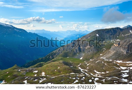 Tranquil summer Alps mountain (view from Grossglockner High Alpine Road)