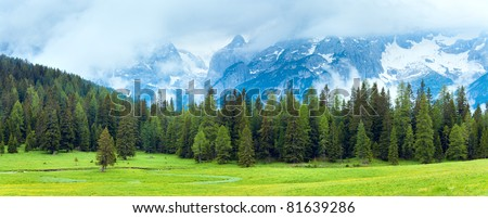 Tranquil summer Italian dolomites mountain view